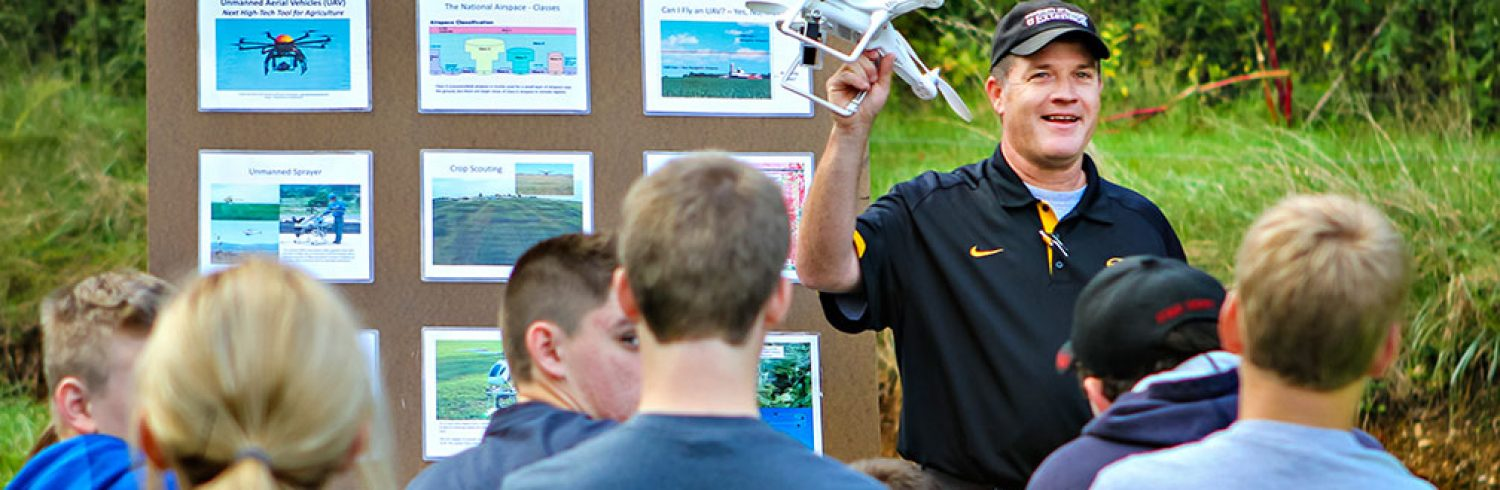 Kent Shannon, MU Extension natural resource engineering specialist, talks to students from the Rolla FFA Chapter about the use of unmanned aerial vehicles in agriculture.