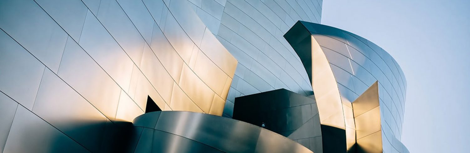 Exterior shot of the Walt Disney Concert Hall in Los Angeles.