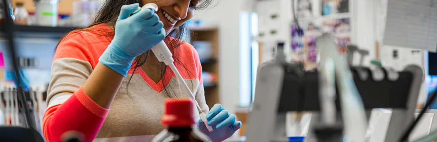 First year Ph.d. candidate Nikita Gudekar works in lab 544 in the Bond Life Sciences Center.