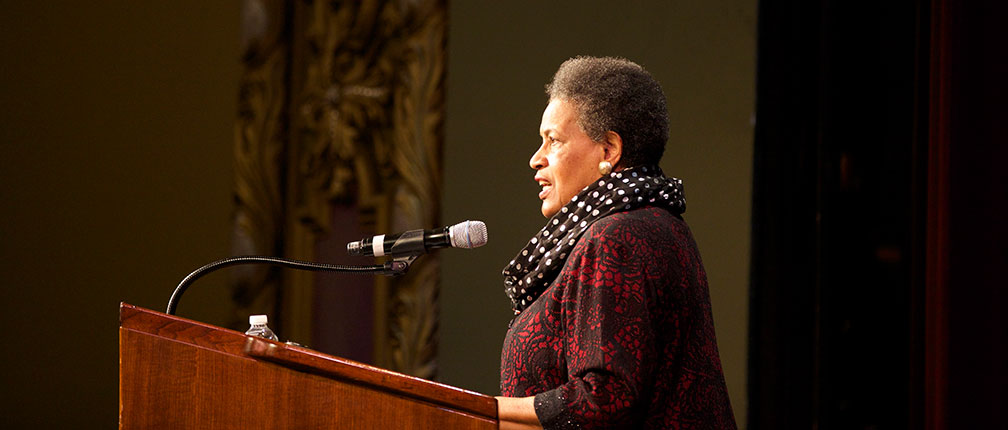 Myrlie Evers-Williams gives a talk at the Missouri Theatre.