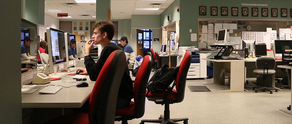 Newsroom of the Missourian.