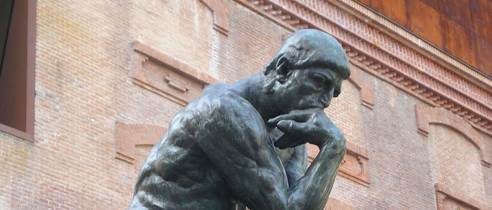 The thinker, sculpture by Auguste Rodin, in Madrid.
