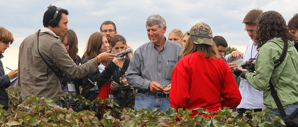 Charles Parker, who farms near Senath, explains the intricacies of growing cotton. Parker was chairman of the National Cotton Council for 2011.