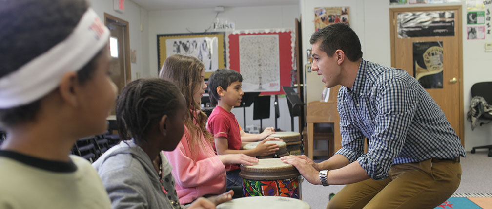 Senior secondary education ( music ) student Sean Hayes teaches at Lee Elementary in Columbia.